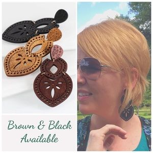 Jewelry - Boho Wood Filigree Marquee Laser Cut Earring